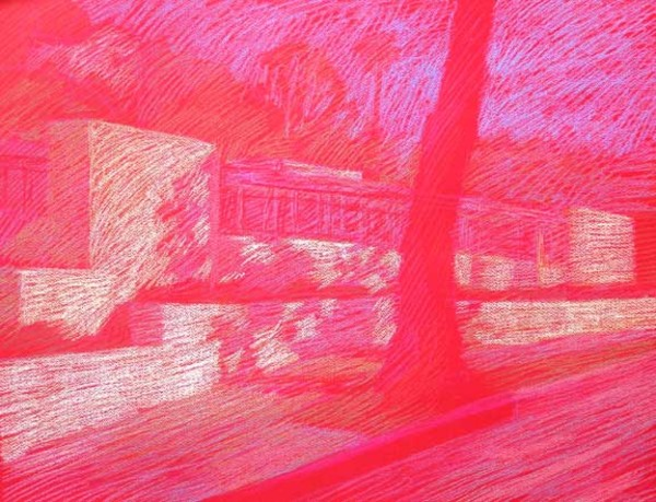 Newberry, Neutra House, 2010, pastel on red paper by Michael Newberry