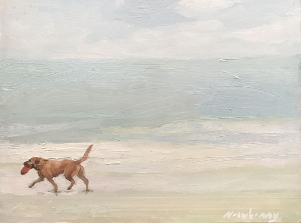 "Newberry, Retriever, 2020, oil on panel, 9x12"" by Michael Newberry"