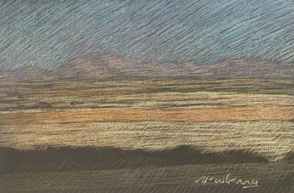 Newberry, Texas Fields in Gold, Mauve, and Dusty Blue, pastel by Michael Newberry