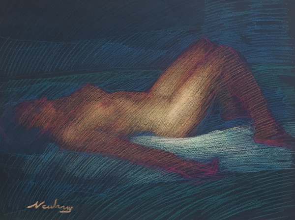 Nude Reclining on Blue by Michael Newberry