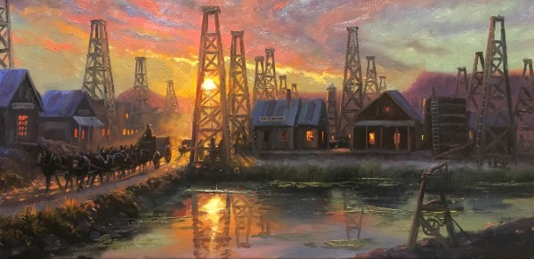 Reflections in the oil patch study by Mark Keathley