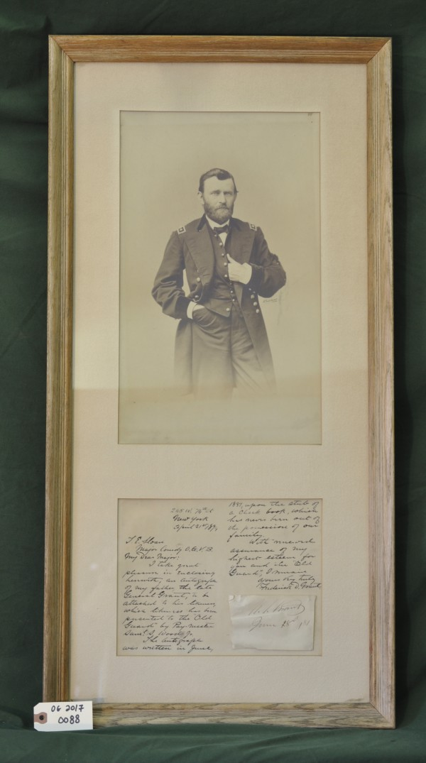 Portrait and autograph of General Grant presented to the Old Guard with a letter