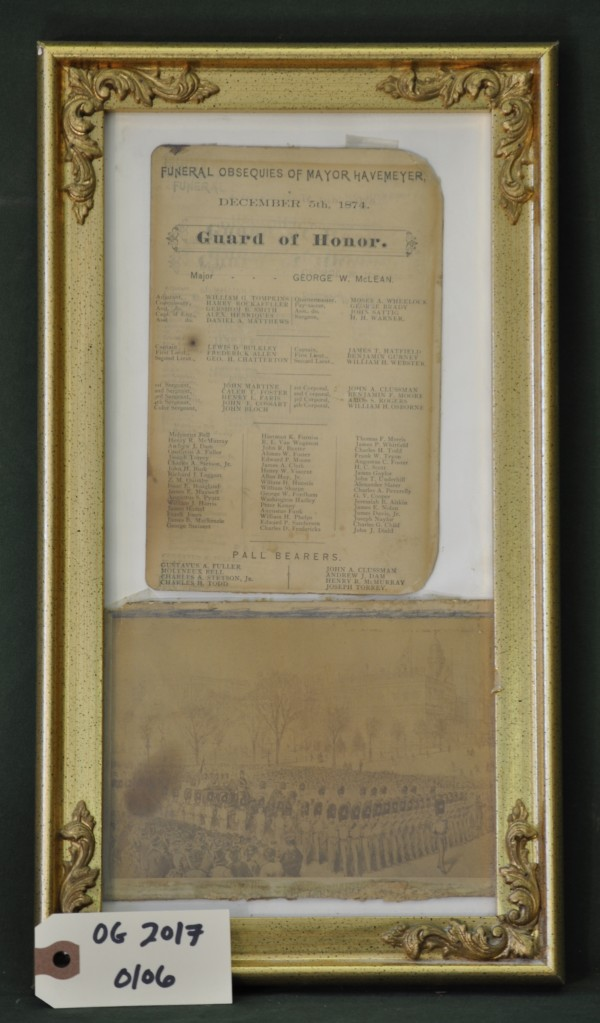 Illustration and Guard of Honor List for the Funeral of Mayor Havemeyer