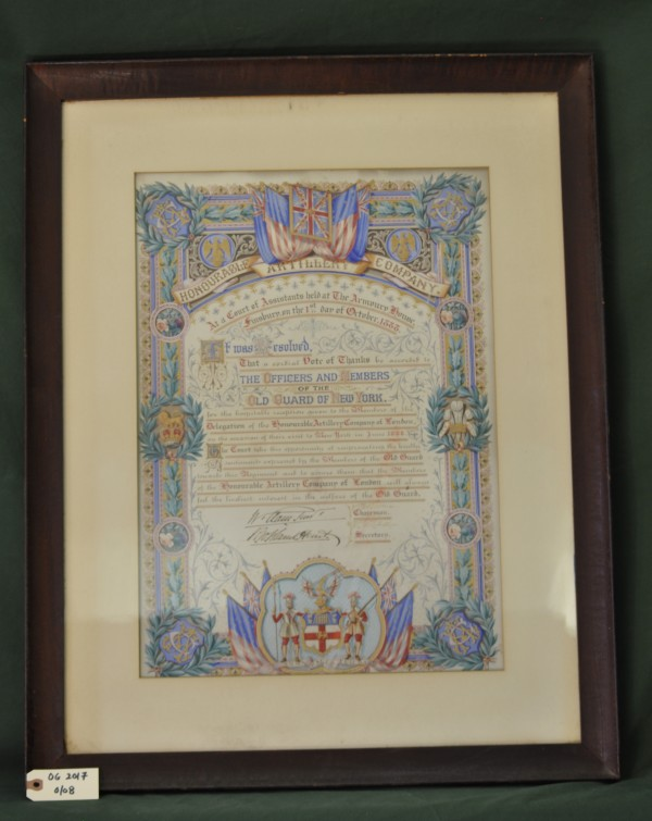 Vote of Thanks from the Honorable Artillery Company of London to the Old Guard of New York