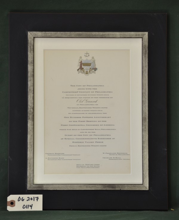 Invitation Requesting the Presence of the Old Guard at Continental Congress Anniversary Celebration