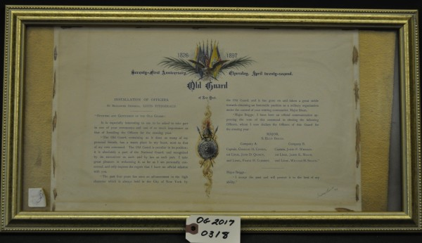 1897 Notice of Installation of Old Guard Officers