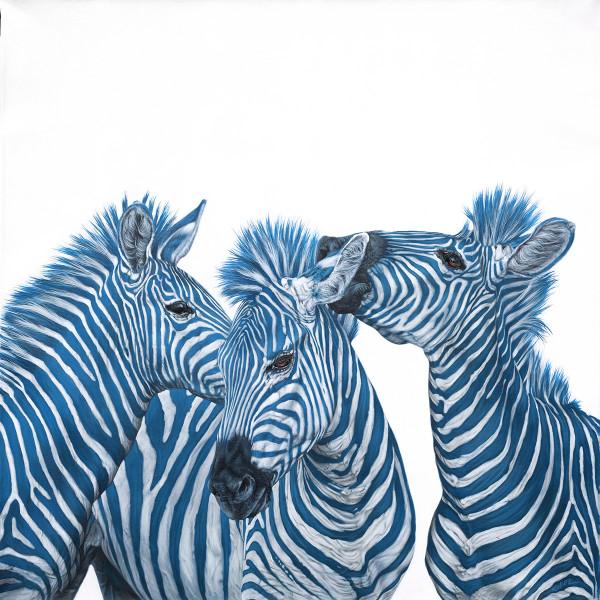 THREE BLUE ZEBRAS, 2015 by HELMUT KOLLER
