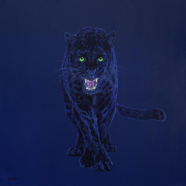 BLACK LEOPARD ON DARK BLUE, 2015 by HELMUT KOLLER