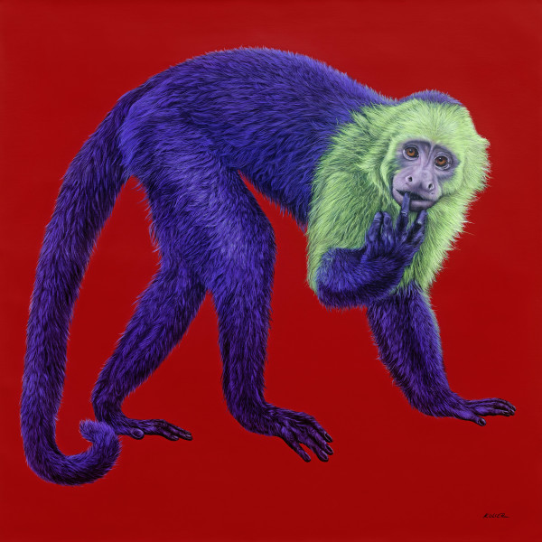 PURPLE MONKEY ON RED, 2016 by HELMUT KOLLER
