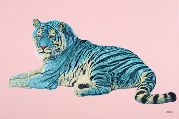 TIGER IN TURQUOISE & YELLOW, 2016 by HELMUT KOLLER