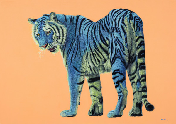 BLUE & GREEN TIGER ON LIGHT ORANGE, 2016 by HELMUT KOLLER
