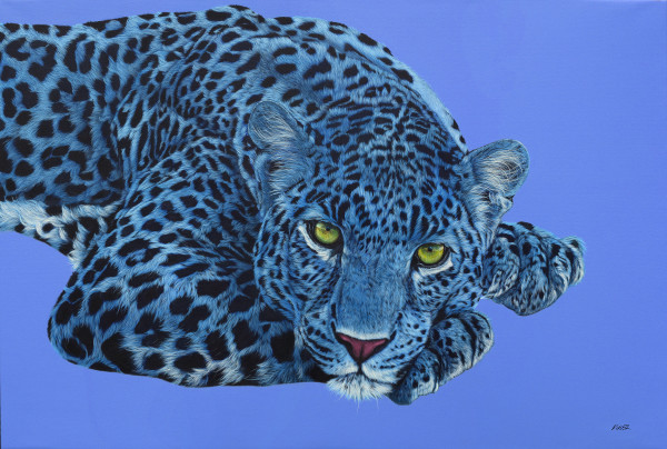 BLUE LEOPARD WITH YELLOW EYES, 2017 by HELMUT KOLLER