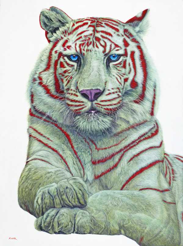 TIGER WITH RED STRIPES, 2017 by HELMUT KOLLER