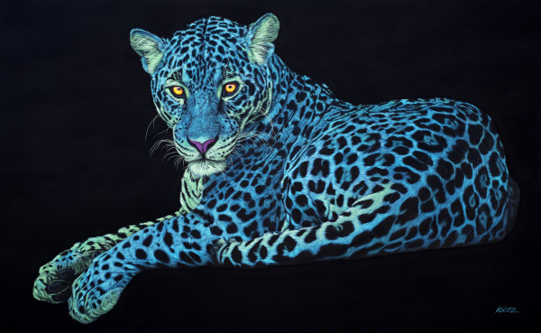JAGUAR ON BLACK, 2018 by HELMUT KOLLER
