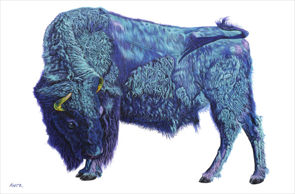 BISON ON WHITE, 2019 by HELMUT KOLLER