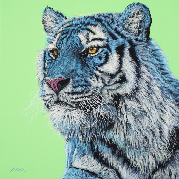 TIGER HEAD ON LIGHT GREEN, 2019 by HELMUT KOLLER