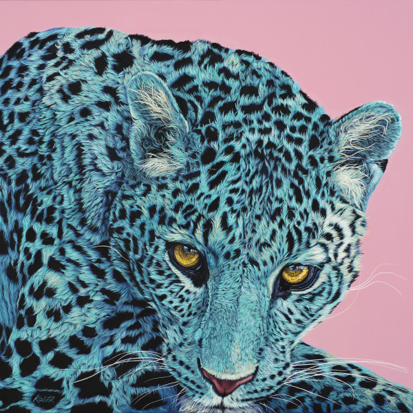 LEOPARD HEAD ON PINK, 2019 by HELMUT KOLLER