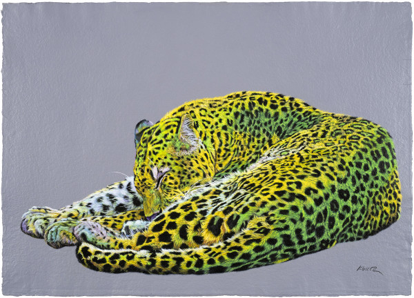 LEOPARD IN YELLOW & GREEN, 2019 by HELMUT KOLLER