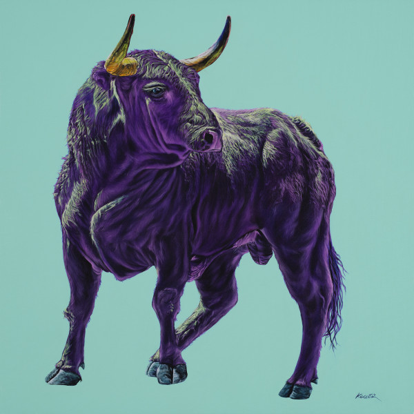 BULL IN MAGENTA & GREEN, 2020 by HELMUT KOLLER