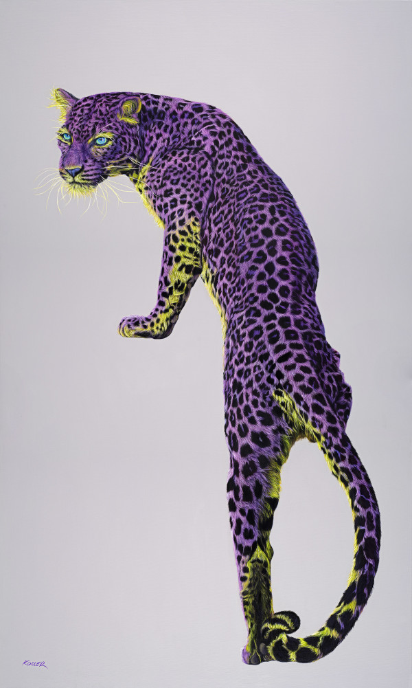 LEOPARD IN VIOLET & YELLOW, 202005 by HELMUT KOLLER