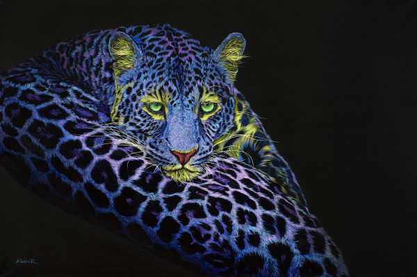 LEOPARD IN BLUE & PINK, 2020 by HELMUT KOLLER