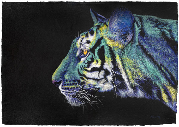 GREEN -YELLOW TIGER ON BLACK, 2020 by HELMUT KOLLER