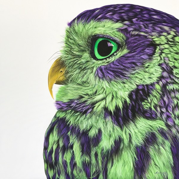 OWL IN PURPLE & GREEN, 2017 by HELMUT KOLLER