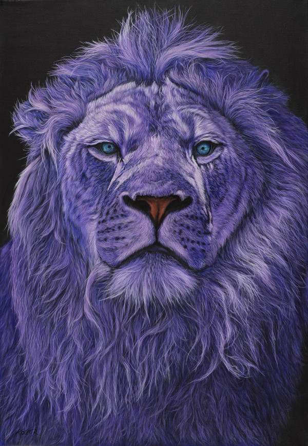 LION HEAD IN PURPLE, 2018 by HELMUT KOLLER
