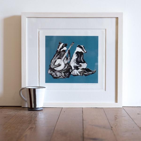 Dueling Badgers (Framed) by Lillias Kinsman-Blake