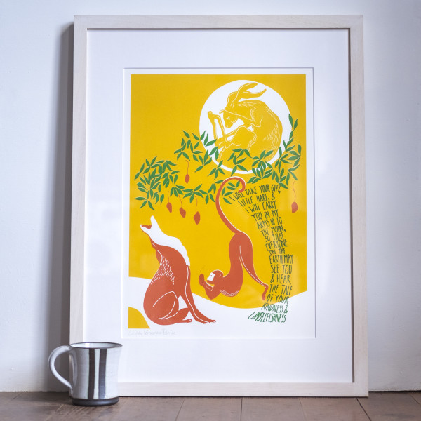 The Hare in the Moon (Framed) by Lillias Kinsman-Blake