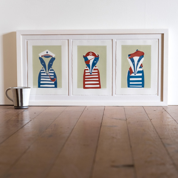 Badger Mugshots Tryptic (Framed) by Lillias Kinsman-Blake