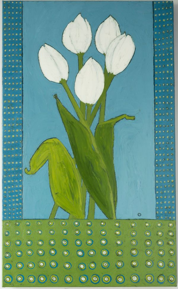 White Tulips with Polka Dots by Karen Tusinski