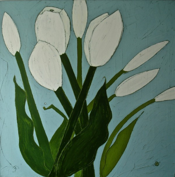 White Tulips on Sunday by Karen Tusinski