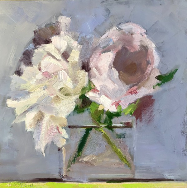 White & Pale Pink Peonies by Monique Lazard