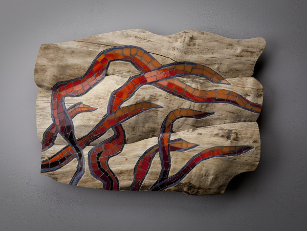 "Caught by the current 3, 2015 Boxelder and glass mosaic. 14""H, 20""W, 3.5""D by aaron d laux"