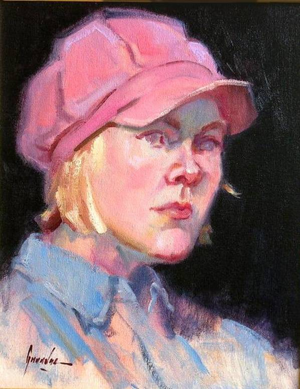 Girl in a Pink Hat   aka Girl With a Pink Hat by Susan F Greaves
