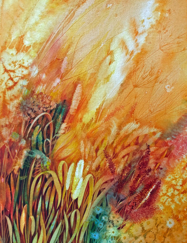 Prairie Fire:  Spring Renewal Study an original watercolor by Helen R Klebesadel