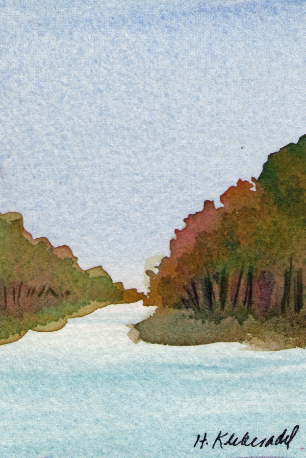 River Study ACEO original watercolor by Helen R Klebesadel