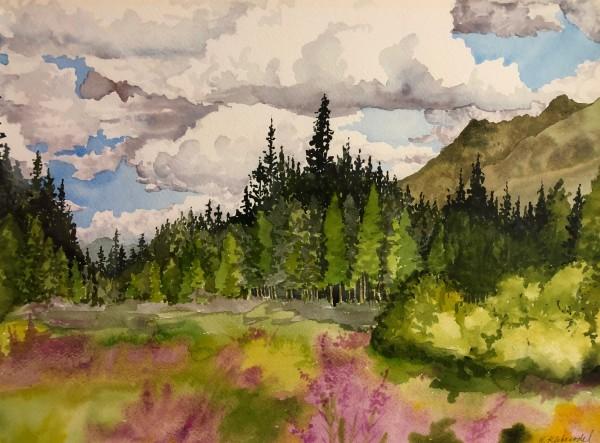 Alaskan Landscape a plein aire watercolor by Helen R Klebesadel