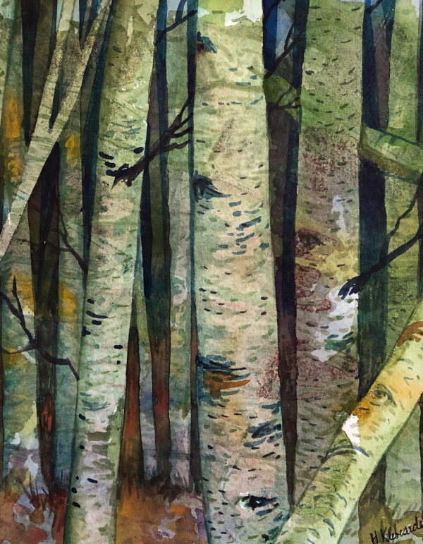 Birch Wood Study II watercolor on paper by Helen R Klebesadel