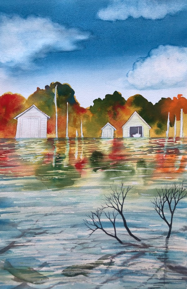 Boat Houses Study by Helen R Klebesadel