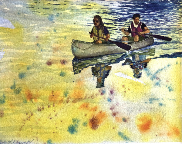 Canoe Study an original watercolor by Helen R Klebesadel