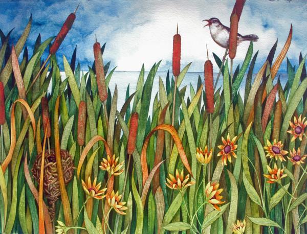 Cattails and Marsh Wren by Helen R Klebesadel