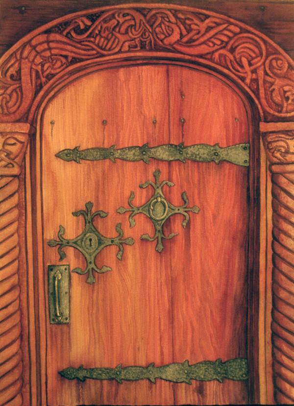 Chapel Door and original watercolor by Helen R Klebesadel