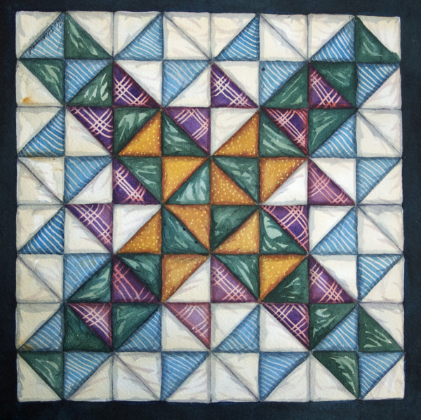 Quilt Square: Hour Glass an original watercolor by Helen R Klebesadel