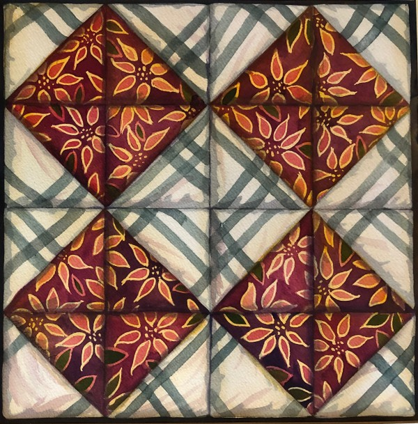 Quilt Square: Crossroads an original watercolor by Helen R Klebesadel