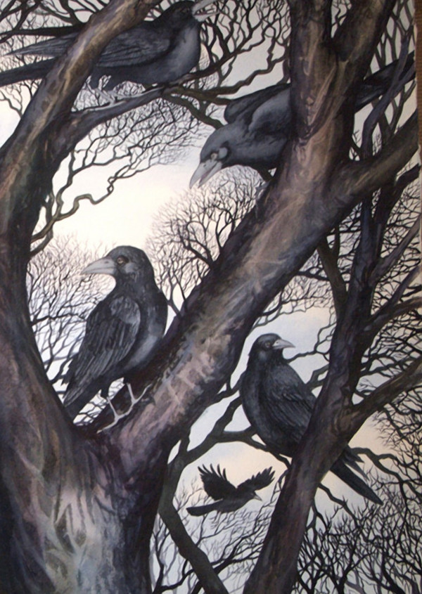 Gathering II:  A Murder of Crows an original watercolor by Helen R Klebesadel