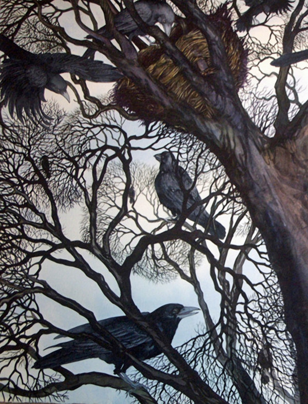 Gathering I:  A Murder of Crows an original watercolor by Helen R Klebesadel