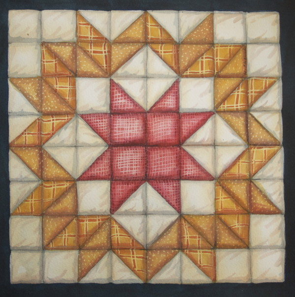 Quilt Square:  Wagon Wheel or Carpenters Wheel an original watercolor by Helen R Klebesadel