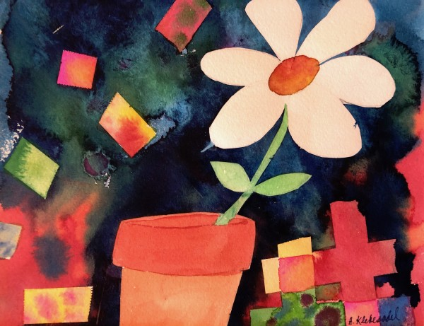 Flower Pot Study an original watercolor by Helen R Klebesadel